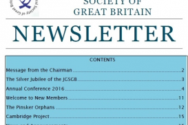 Front Page of JGSGB Newsletter January 2017